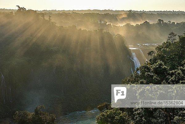 Blick vom Wasserfall Salto Santa Maria über den Regenwald der Isla San Martin bei Sonnenuntergang  Iguazu Fälle  Puerto Iguazu  Grenze zu Brasilien  Argentinien  Südamerika