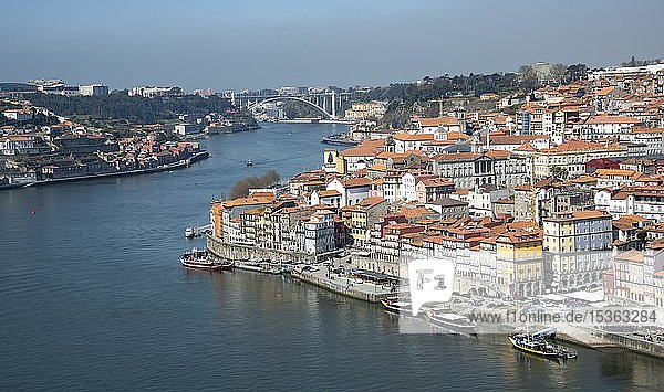 City view  view over Porto with river Rio Douro  Porto  Portugal  Europe
