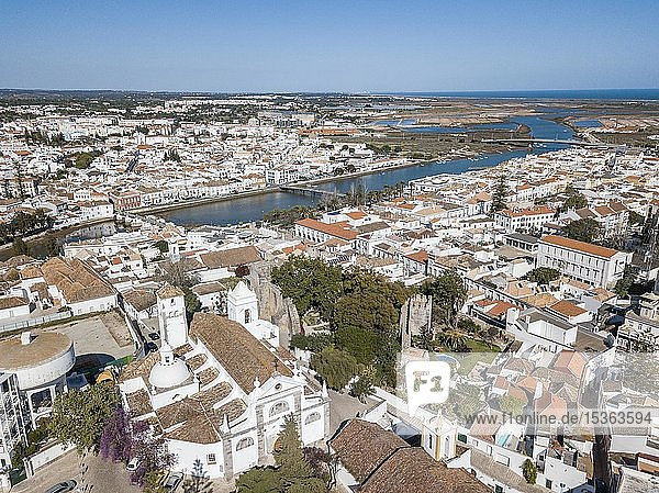 City view with fishermen's town with Gilao river  Tavira  drone shot  Algarve  Portugal  Europe