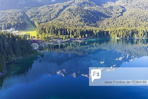 Eibsee-Hotel  Eibsee  bei Grainau  Werdenfelser Land  Luftbild  Oberbayern  Bayern  Deutschland  Europa