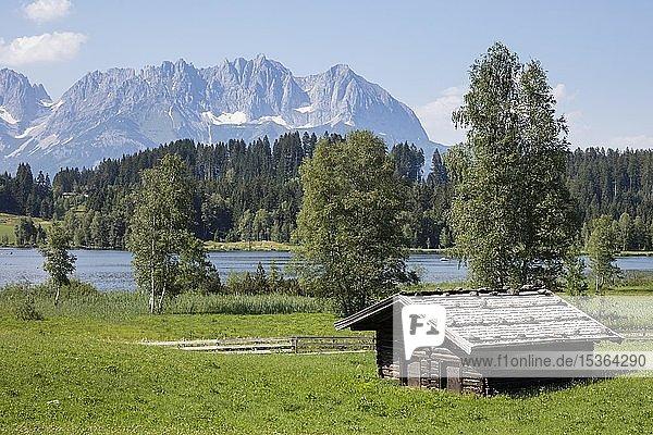 Hütte am Schwarzsee  hinten Kaisergebirge  Kitzbühel  Tirol  Österreich  Europa