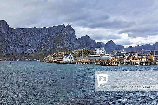 Stelzenhäuser  vorgelagerte Insel Sakrisoya  Reine  Lofoten  Norwegen  Europa