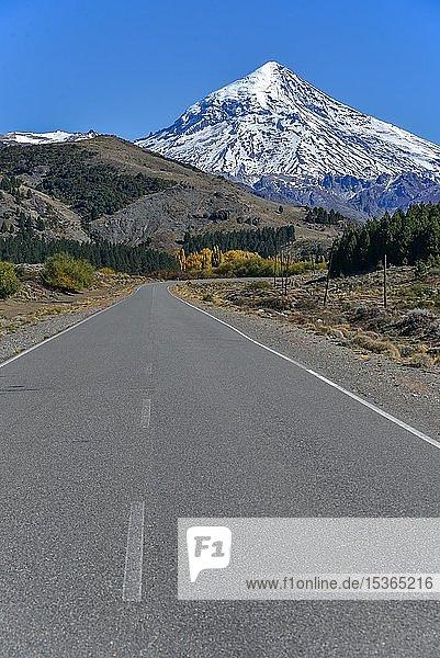 Straße mit Schneebedeckter Vulkan Lanin  zwischen San Martin de los Andes und Pucon  Nationalpark Lanin  Patagonien  Argentinien  Südamerika