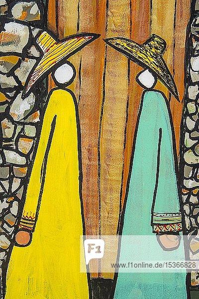 Islamische Wandmalerei in der Muftaha Village Art Gallery  Abha  Saudi-Arabien  Asien