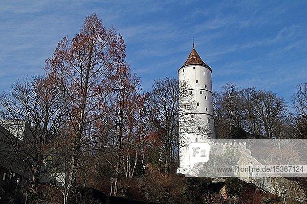 Weißer Turm in Biberach  Sehenswürdigkeit  frühere Stadtmauer  Biberach a.d Riss  Oberschwaben  Baden-Württemberg  Deutschland  Europa