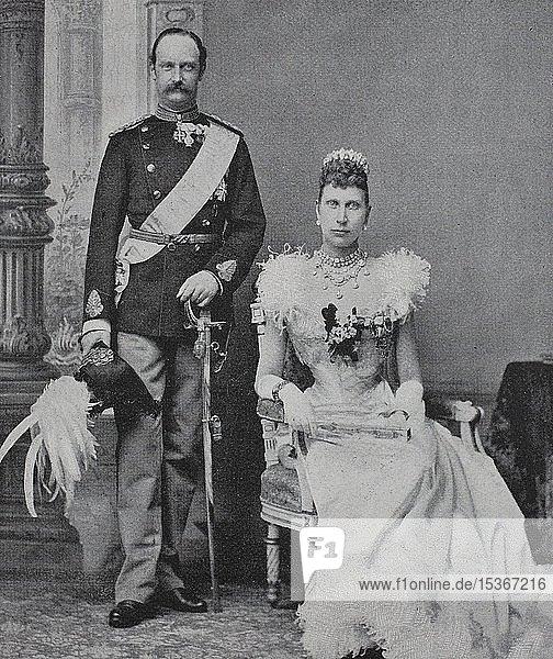 Friedrich VIII.  1843-1912  war von 1906 bis 1912 König von Dänemark und Louise von Schweden  Louise Josephine Eugenie  1851-1926  war Königin von Dänemark  1865  Holzschnitt  Dänemark  Europa