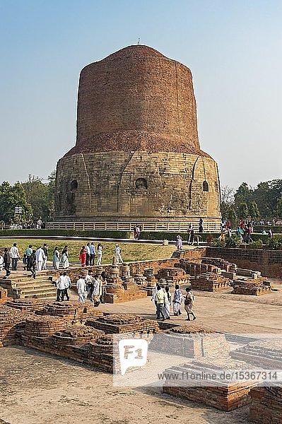 Dhamek Stupa und Ausgrabungen von Klosterruinen in Sarnath bei Varanasi  Indien  Asien