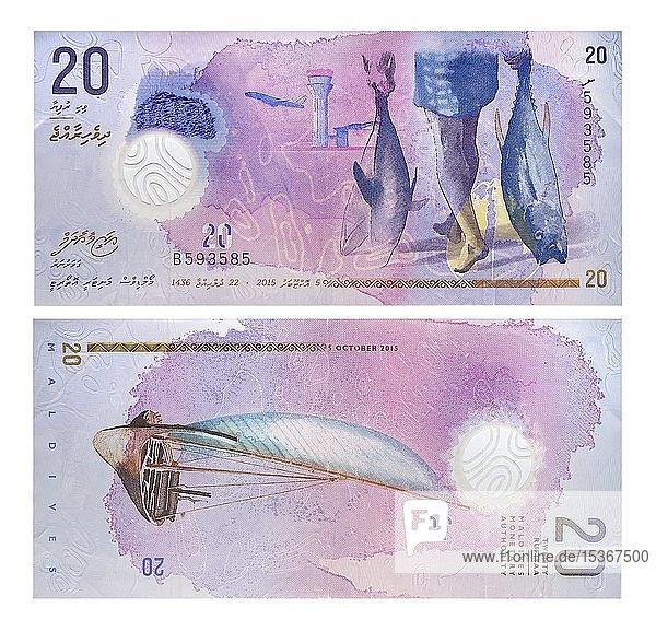 20 Maledivische Rufiyaa  Vorder- und Rückseite  Muster 2015  Ukraine  Europa
