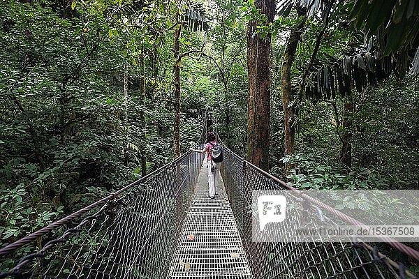 Wanderin auf einer Hängebrücke im tropischen Regenwald  Mistico Arenal Hängebrücken-Park  Mistico Arenal Hanging Bridges Park  Provinz Alajuela  Costa Rica  Mittelamerika