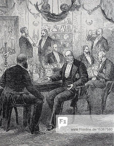 Tabakschule  Gruppe von Männern zum Tabakgenuss  historische Illustration  1880  Deutschland  Europa