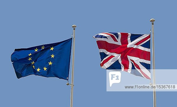 European flag and British Union Jack Flag  Flag of the United Kingdom  France  Europe