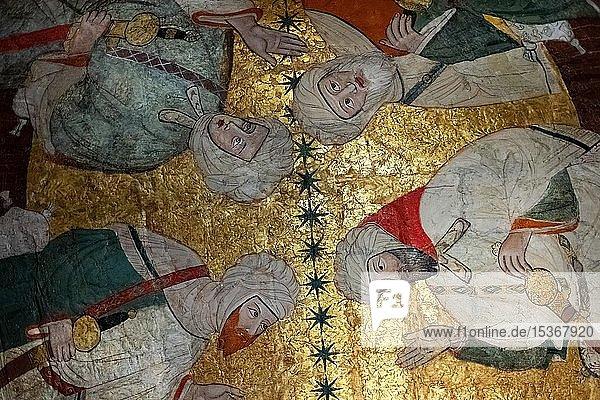 Versammlung von islamischen Würdenträgern  Deckenmalerei  Sala de los Reyes  Saal der Könige  Nasridenpaläste  Alhambra  Granada  Andalusien  Spanien  Europa