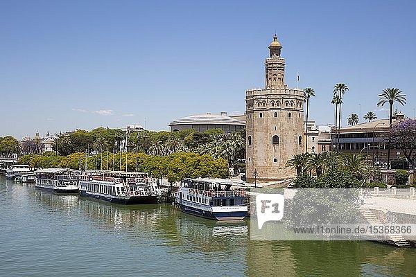 Ausflugsboote am Fluß Guadalquivir  Goldturm  Torre del Oro  Sevilla  Andalusien  Spanien  Europa