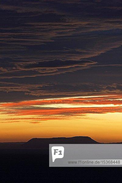 Looking over the fjord Öxarfjörður to volcano at sunrise  Öxarfjördur lowlands  Northeast Iceland  Iceland  Europe