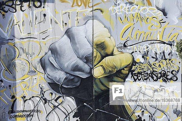 Graffiti  geballte Faust  Protest  Widerstand  Wandbild  Streetart  Altstadtviertel El Carme  Valencia  Spanien  Europa