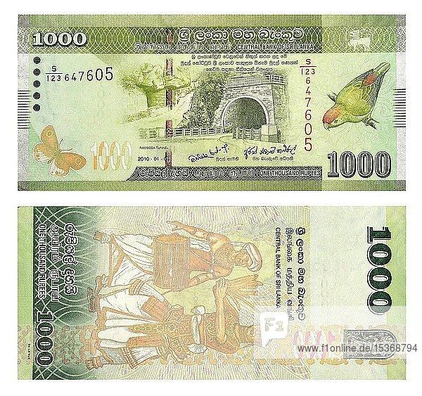 Banknoten 1000 Sri Lankische Rupien  Vorder- und Rückseite  Sri Lanka  Asien