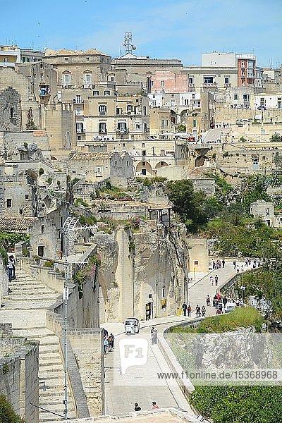 Blick über Sassi di Matera  Region Basilikata  Italien  Europa