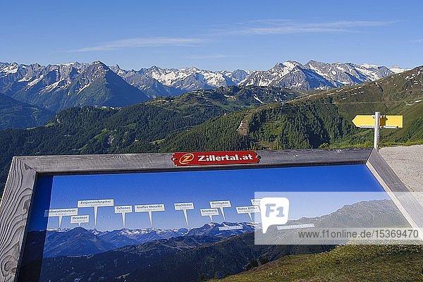 Informationstafel mit Bergpanorama und Gipfeln der Zillertaler Alpen  Ausblick von Zillertaler Höhenstraße  Zillertal  Tirol  Österreich  Europa