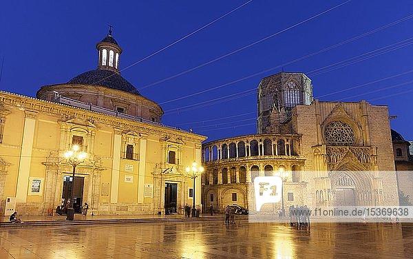 Plaza de la Mare de Déu  auch Plaza de la Virgen  Basilika und Kathedrale von Valencia  nachts  illuminiert  Valencia  Spanien  Europa