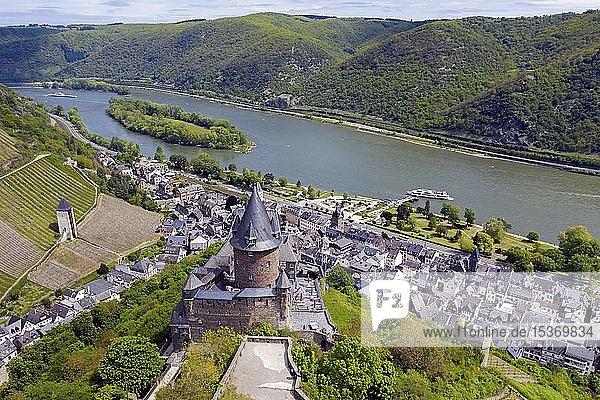 Luftaufnahme  Burg Stahleck  Bacharach  Oberes Mittelrheintal  Rheinland-Pfalz  Deutschland  Europa