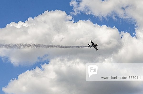 Flugzeug im Flug  Kunstflug  Extra 330SC  bei Wolkenhimmel  International Paris Air Show  Le Bourget  Paris  Frankreich  Europa