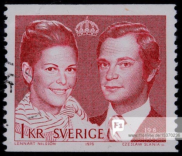 König Carl XVI Gustaf  König von Schweden  und Königin Silvia Sommerlath  Porträt auf einer schwedischen Briefmarke  Schweden  Europa