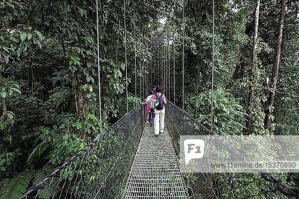 Wanderer auf einer Hängebrücke im tropischen Regenwald  Mistico Arenal Hängebrücken-Park  Mistico Arenal Hanging Bridges Park  Provinz Alajuela  Costa Rica  Mittelamerika