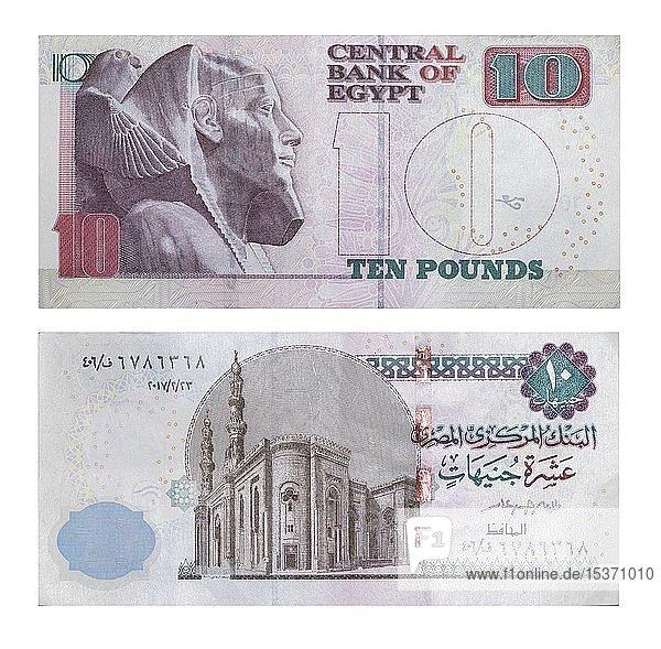 10 ägyptische Pfund  Vorder- und Rückseite  Ägypten  Afrika