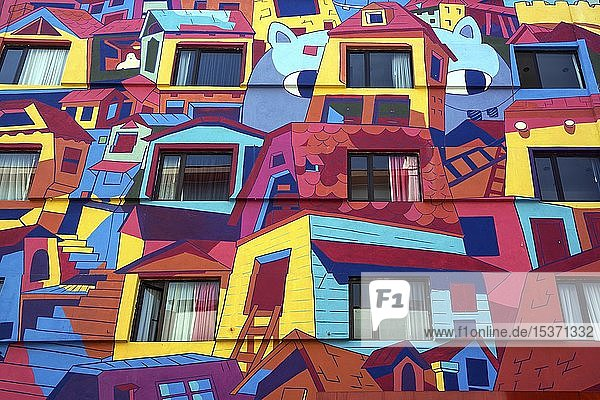 Bunt bemalte Hausfassade  San Jose  Provinz San Jose  Region Valle Central  Costa Rica  Mittelamerika