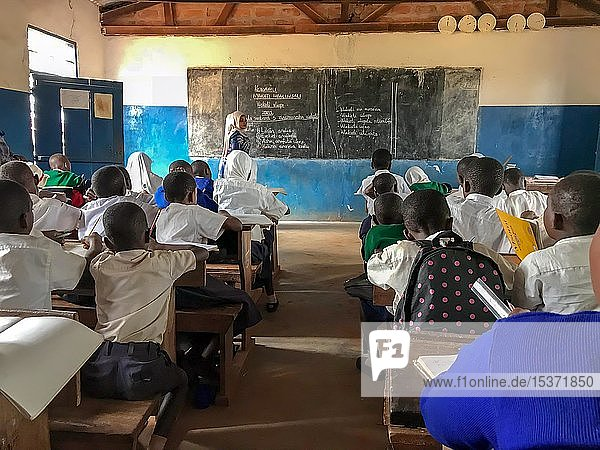School  school lessons  schoolchildren with school clothes during classroom lessons  frontal teaching  Tanzania  Africa