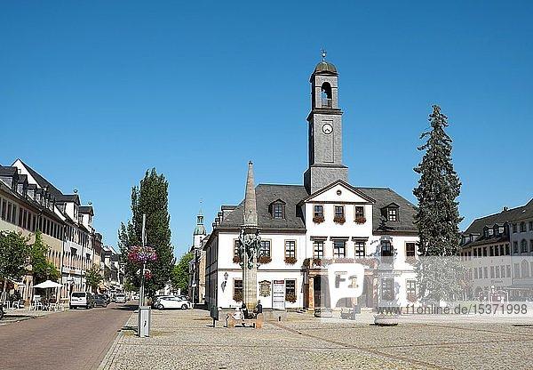 Klassizistisches Rathaus am Markt  Rochlitz  Sachsen  Deutschland  Europa