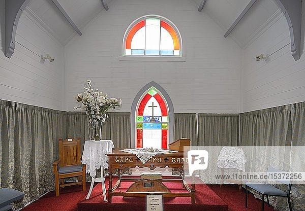 Innenaufnahme der christlichen weiße Maori-Kirche in Raukokore  East Cape  Nordinsel  Neuseeland  Ozeanien