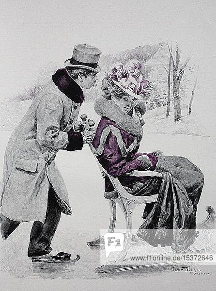 Mann mit Schlittschuhen schiebt seine Frau auf einem Stuhl  Schlitten über das Eis  1899  historische Illustration  Deutschland  Europa