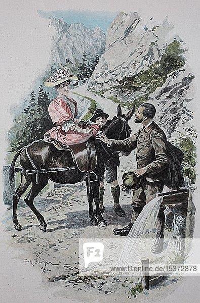 Mann gibt einer Frau auf einem Maultier einen Becher mit frischem Wasser  1899  historische Illustration  Deutschland  Europa