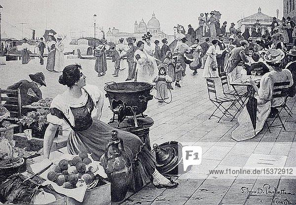 Markt und Straßencafé auf der riva degli schiavoni in Venedig  1899  historische Illustration  Italien  Europa