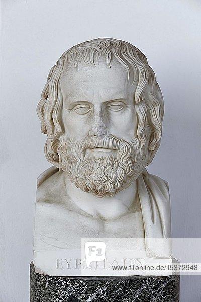 Büste des griechischen Dramatikers Euripides  Achilleion Palast  Gastouri  Insel Korfu  Ionische Inseln  Griechenland  Europa