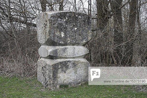 Bildhauerarbeit  Skulptur von Zdenek Simek  Skulpturenfeld bei Oggelshausen  Landkreis Biberach  Oberschwaben  Baden-Württemberg  Deutschland  Europa
