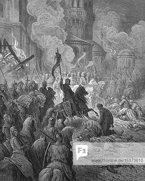 Eintritt von Kreuzrittern in Konstantinopel  vierter Kreuzzug  1885  historischer Holzschnitt  England