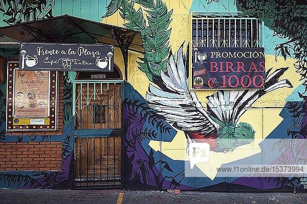 Wandmalerei  Graffiti mit Nationalvogel Quetzal  San Jose  Provinz San Jose  Region Valle Central  Costa Rica  Mittelamerika
