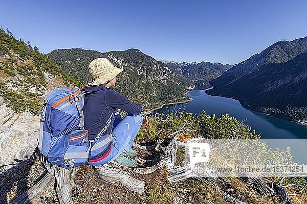 Wanderin rastet und schaut in die Ferne  hinten Schönjöchl  Plansee  Ammergauer Alpen  Bezirk Reutte  Tirol  Österreich  Europa