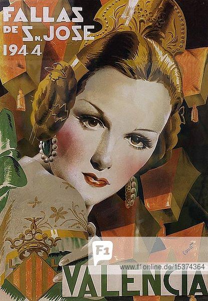 Historisches Plakat für das valencianische Frühlingsfest Fallas  Frauenporträt  Museo Fallero  Valencia  Spanien  Europa
