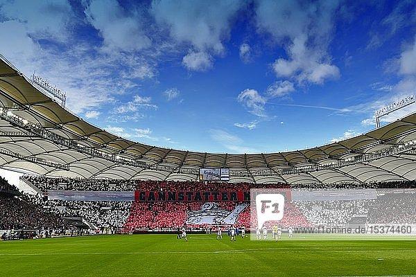 Übersicht  Fanchoreografie der Cannstatter Kurve mit Kanne als Wahrzeichen von Bad Cannstatt  Mercedes-Benz Arena  Stuttgart  Baden-Württemberg  Deutschland  Europa