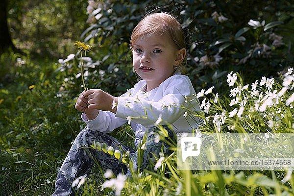 Kleines Mädchen sitzt nachdenklich zwischen Blumen auf der Wiese  Tschechien  Europa
