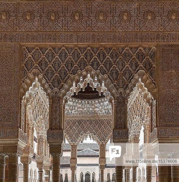 Säulen mit maurischen Gipsverzierungen und Koransuren  Säulenhalle  Löwenpalast  Nasridenpalast  Alhambra  Granada  Andalusien  Spanien  Europa