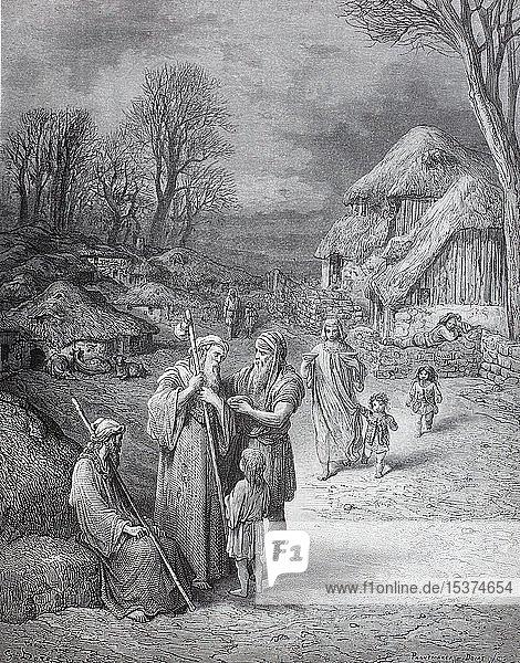 Gastfreundschaft für Pilger in Jerusalem im 11. Jahrhundert  vor dem ersten Kreuzzug  historische Illustration  1880  Deutschland  Europa