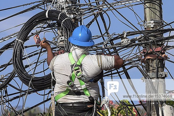 Monteur arbeitet an Stromleitung  Samara  Provinz Guanacaste  Costa Rica  Mittelamerika