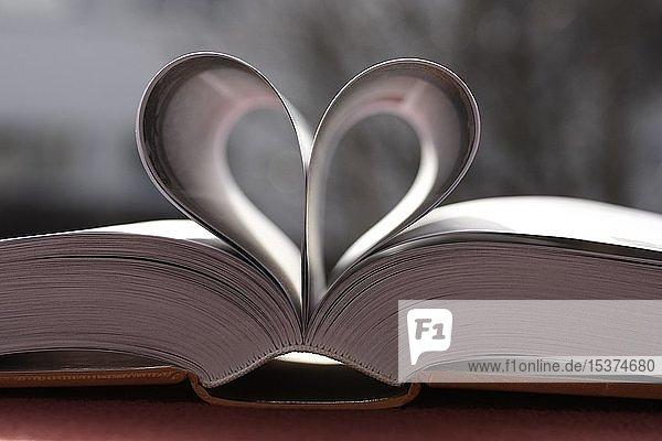 Buchseiten  herzförmig  Liebesroman