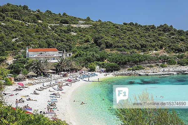 Idyllic beach with turquoise water  Hvar  island of Hvar  Adriatic Sea  Dalmatia  Croatia  Europe