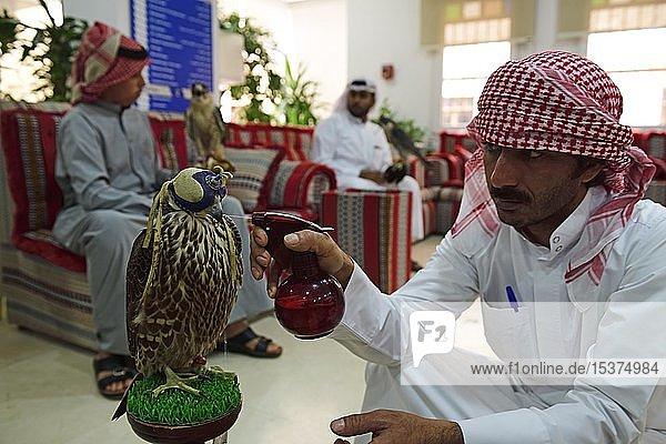 Araber bespritzt Falken mit Wasser  Wartezimmer im Falken-Hospital  Souq Waqif  Doha  Qatar