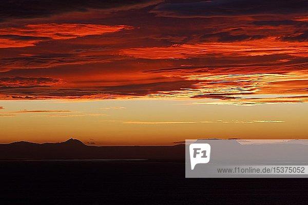 Looking over the fjord Öxarfjörður to volcano landscape at sunrise  Öxarfjördur lowlands  Northeast Iceland  Iceland  Europe